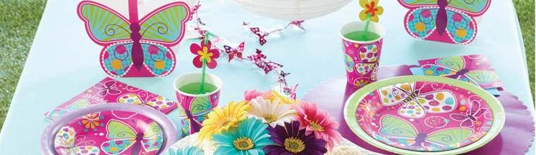 pink schmetterling party deko m dchen happy. Black Bedroom Furniture Sets. Home Design Ideas