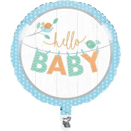 Folienballon Hello Baby Boy Deko Babyparty