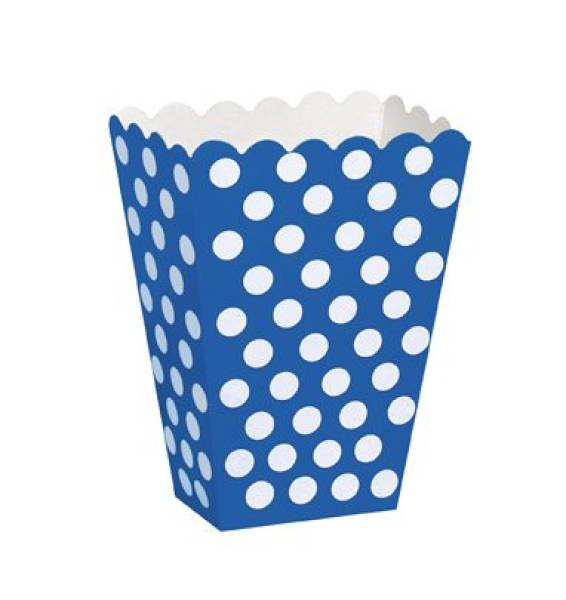 Popcornbox Punkte Blau, 8 St. - Party Deko Kindergeburt